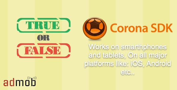 True Or False Quiz made with Corona SDK - CodeCanyon Item for Sale