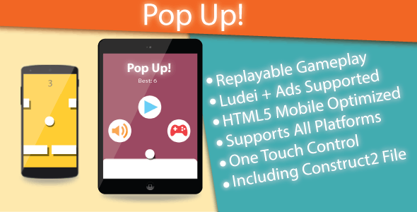 Pop Up! - HTML5 Game (Construct 2 & Construct 3) - CodeCanyon Item for Sale