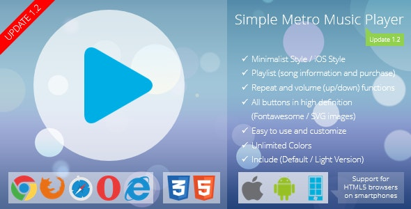Simple Metro Music Player - CodeCanyon Item for Sale
