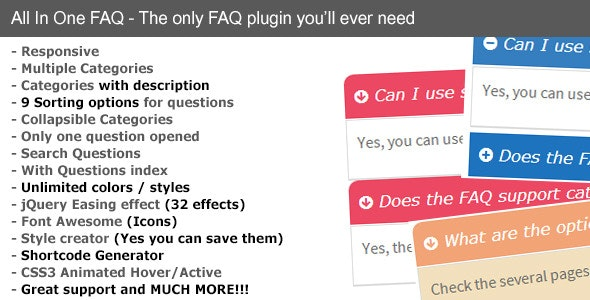 Responsive FAQ All in One - CodeCanyon Item for Sale