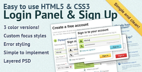 Easy to use HTML5 & CSS3 Login Panel - CodeCanyon Item for Sale
