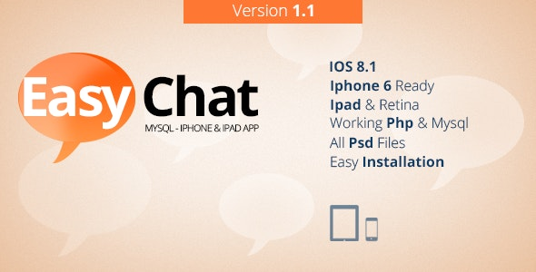 EasyChat - Mysql & Iphone, Ipad App V1.1 - CodeCanyon Item for Sale