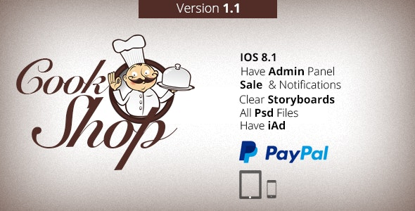 CookShop - iPhone & iPad App With PayPal V1.1 - CodeCanyon Item for Sale