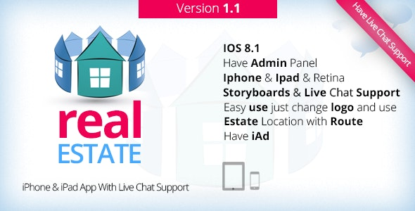 real Estate & iPhone, iPad App With Live Support V1.1 - CodeCanyon Item for Sale