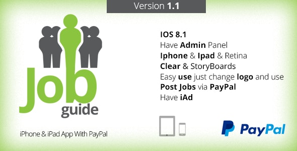 Job Guide - iPhone & iPad App With PayPal V1.1 - CodeCanyon Item for Sale