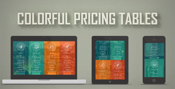 Colorful Pricing Tables - CodeCanyon Item for Sale