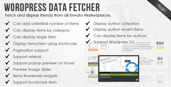 Wordpress Data Fetcher - WP Plugin - CodeCanyon Item for Sale