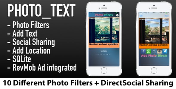 Photo Text App [10 Filters, Social Sharing, AD,db]