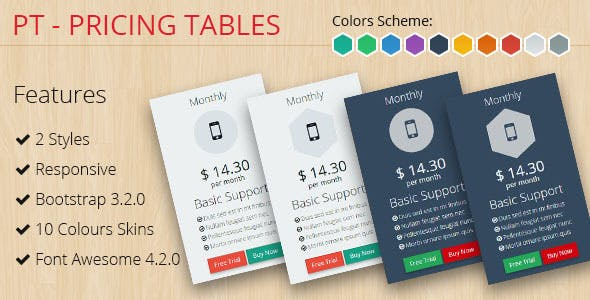 PT - Pricing Tables Bootstrap 3.2.0 - CodeCanyon Item for Sale