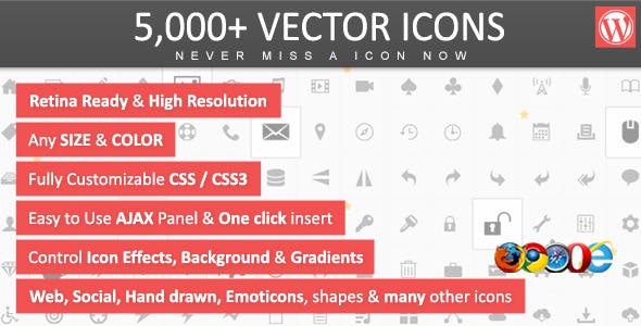 5,000+ Vector Icons - WordPress