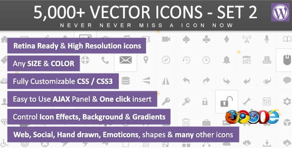 5,000+ Vector Icons SET 2 - WordPress