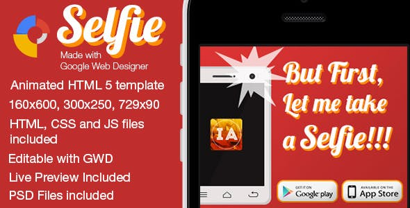 Selfie - Animated Mobile App Banner Templates