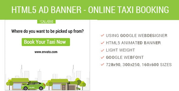 Book Online Taxi - HTML5 Animated AD - CodeCanyon Item for Sale