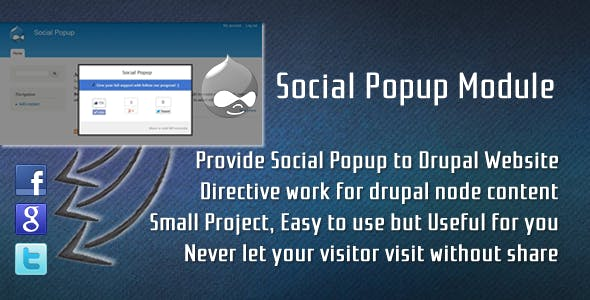Drupal Social Popup