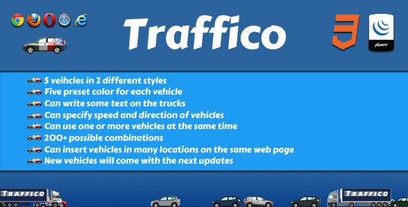 Traffico - jQuery Animated Cars & Trucks Plugin