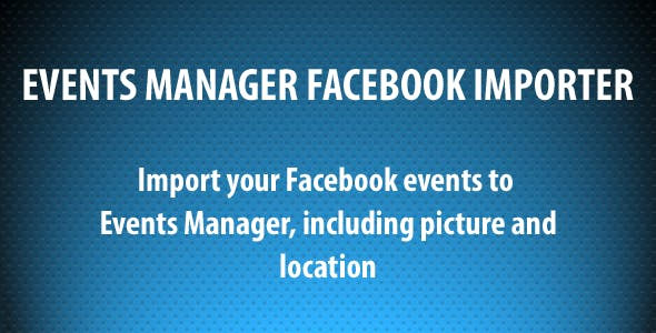 Events Manager Facebook Importer