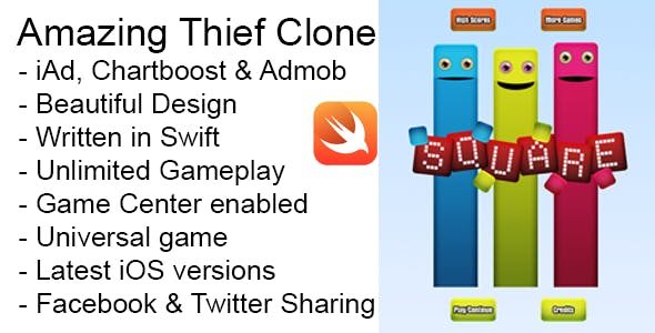 Square Thief iOS Game Universal Swift Source Code