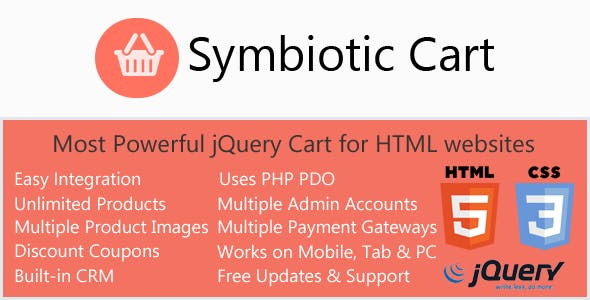 AJAX Cart for HTML websites with Orders & Invoices