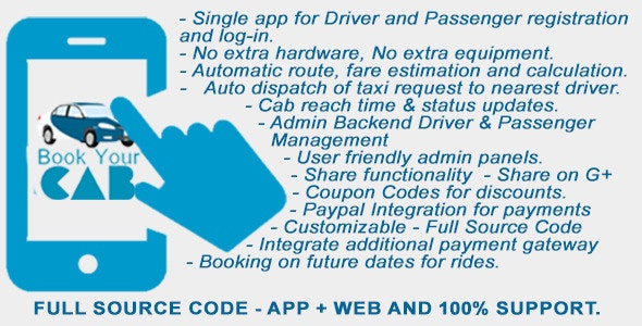 Complete App Based Cab Booking Business Solution - CodeCanyon Item for Sale