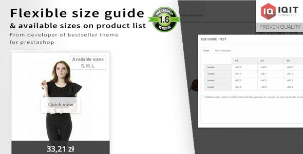 Flexible size guide(chart) & sizes on product list