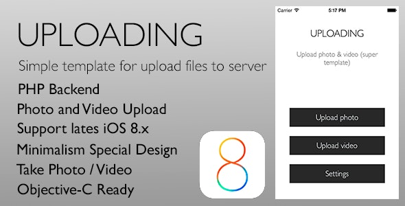 Uploading - Simple template for upload files iOS 8 - CodeCanyon Item for Sale