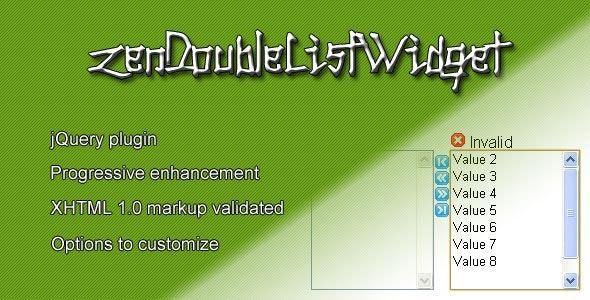 zenDoubleListWidget - CodeCanyon Item for Sale