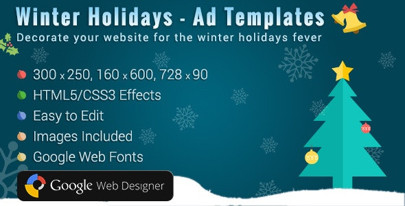 Winter Holidays HTML5 Ads Template - CodeCanyon Item for Sale