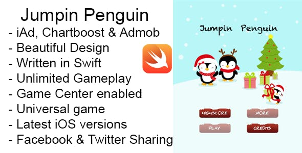 Jumpin Penguin Christmas iOS Game Universal Swift