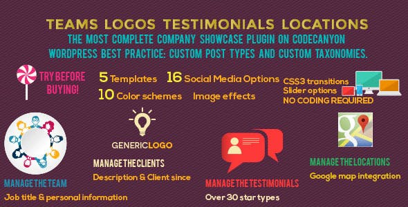 Teams Logos Testimonials Locations for WordPress