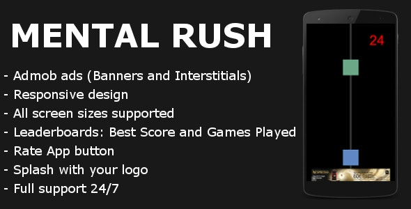Mental Rush with Admob and Leaderboards - CodeCanyon Item for Sale