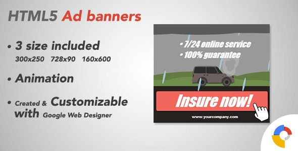 Ad HTML5 Template | Insurance - CodeCanyon Item for Sale