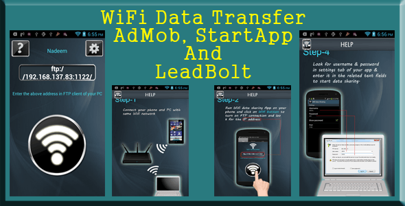 Wifi Data Transfer - AdMob, StartApp and LeadBolt - CodeCanyon Item for Sale