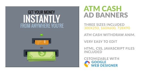 ATM Instant Cash Withdraw HTML5 AD Banner