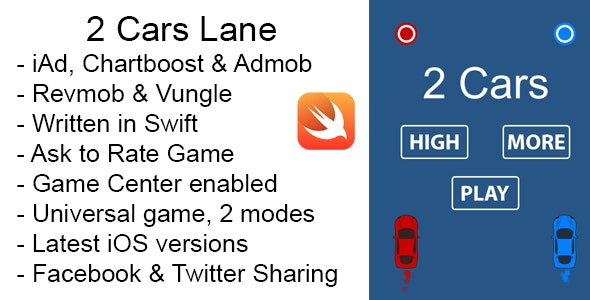 2 Cars Lane Swift iOS Game Universal Source Code - CodeCanyon Item for Sale