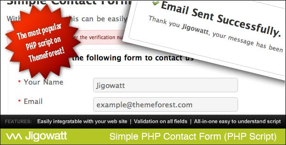 Simple PHP Contact Form        Nulled