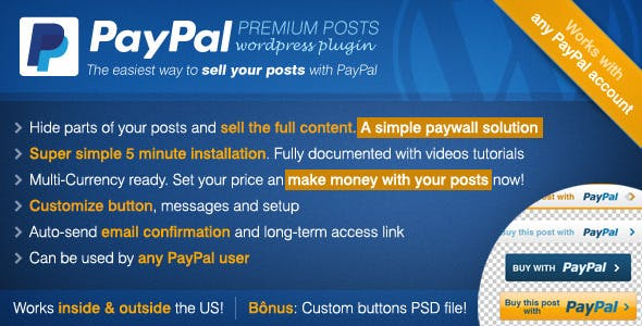 PayPal Premium Posts: Paywall WordPress Plugin