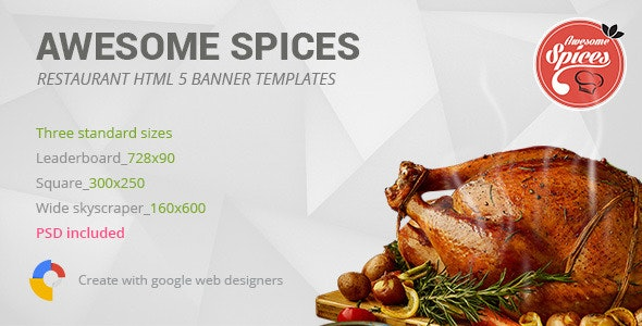 Awesome Spices | Restaurant HTML5 Banner Template - CodeCanyon Item for Sale