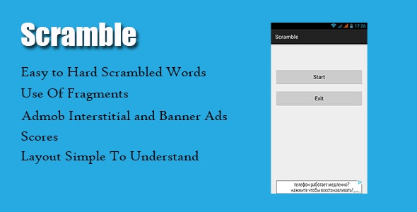 Scramble Game With Admob - CodeCanyon Item for Sale