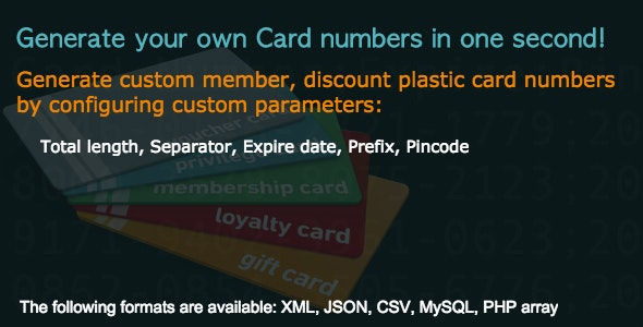 Plastic Card Number Generator - CodeCanyon Item for Sale