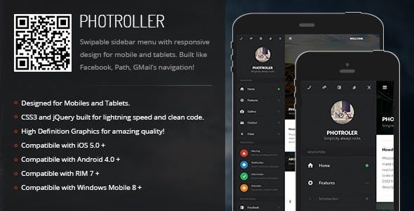 Photroller | Sidebar Menu for Mobiles & Tablets