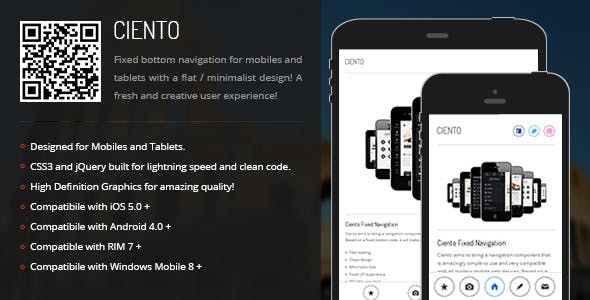 Ciento | Fixed Bottom Menu for Mobiles & Tablets