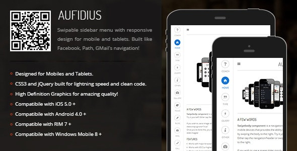 Aufidius   Sidebar Menu for Mobiles & Tablets - CodeCanyon Item for Sale
