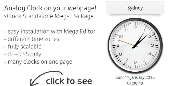sClock Mega Package Analog Clocks w. TimeZones - CodeCanyon Item for Sale