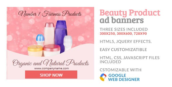 Beauty Cosmetic Product GWD HTML5 Ad Banner