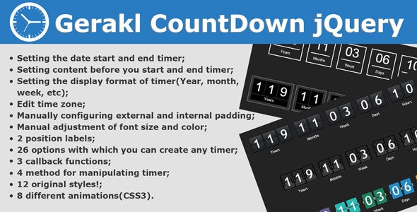 Gerakl CountDown jQuery - CodeCanyon Item for Sale