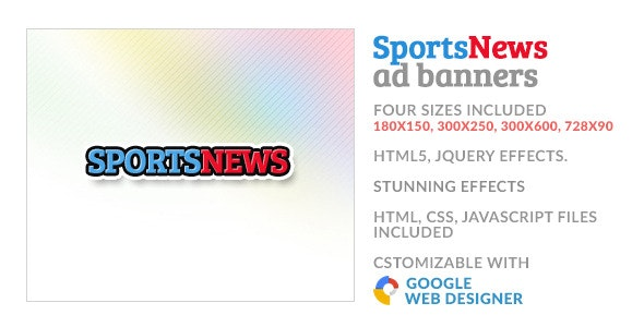 Sports News GWD HTML5 Ad Banner - CodeCanyon Item for Sale