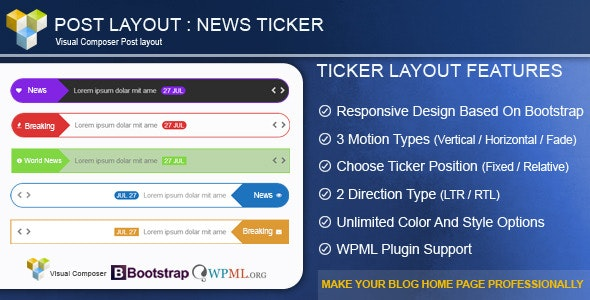 Post Layout : News Ticker for Visual Composer - CodeCanyon Item for Sale