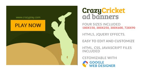 Crazy Cricket Play Sport GWD HTML5 Ad Banner