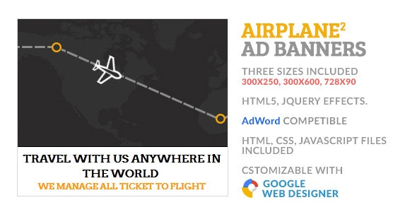 Airline Travel Flight GWD HTML5 Ad Banner 2 - CodeCanyon Item for Sale