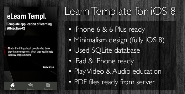 Learn App Template iPhone, iPad iOS 8 - CodeCanyon Item for Sale